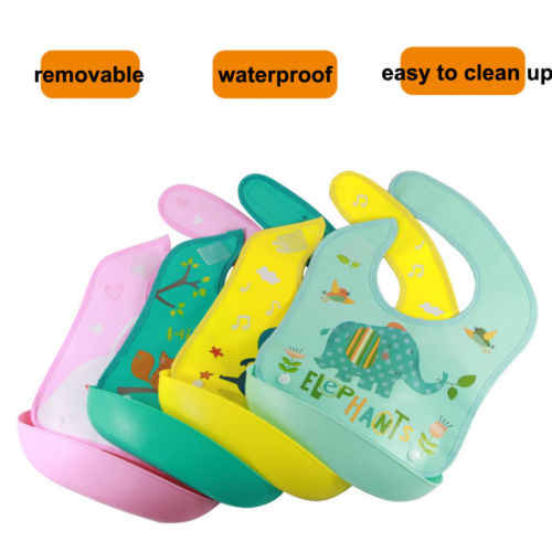 2019 Newborn Infant Baby Boys Girls Silicone Cartoon Waterproof Bib Washable Roll Up Crumb Catcher Feeding Eating Cute Baby Bib