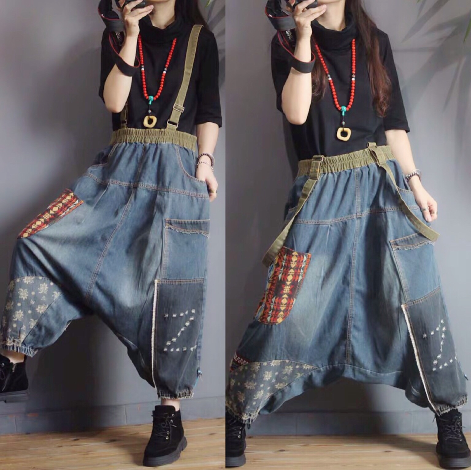 Women Baggy Low Crotch Denim Pants Patchwork Wide Leg Suspenders Jeans Hip Hop Cowboy Harem Trousers Boyfriend Bloomers Joggers