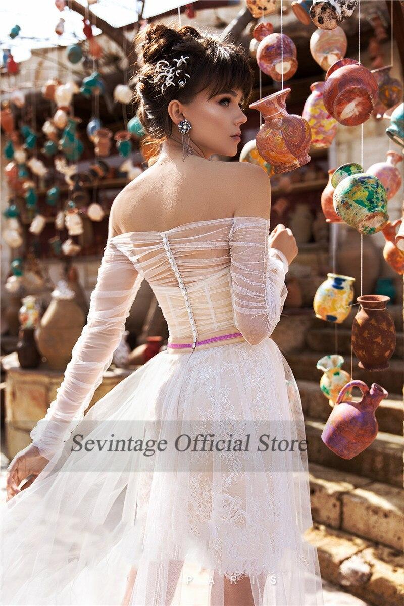 Sevintage Off the Shoulder Boho Wedding Dresses Long Sleeves Lace Bridal Gown Slit Side Removable Skirt Wedding Gowns 2021