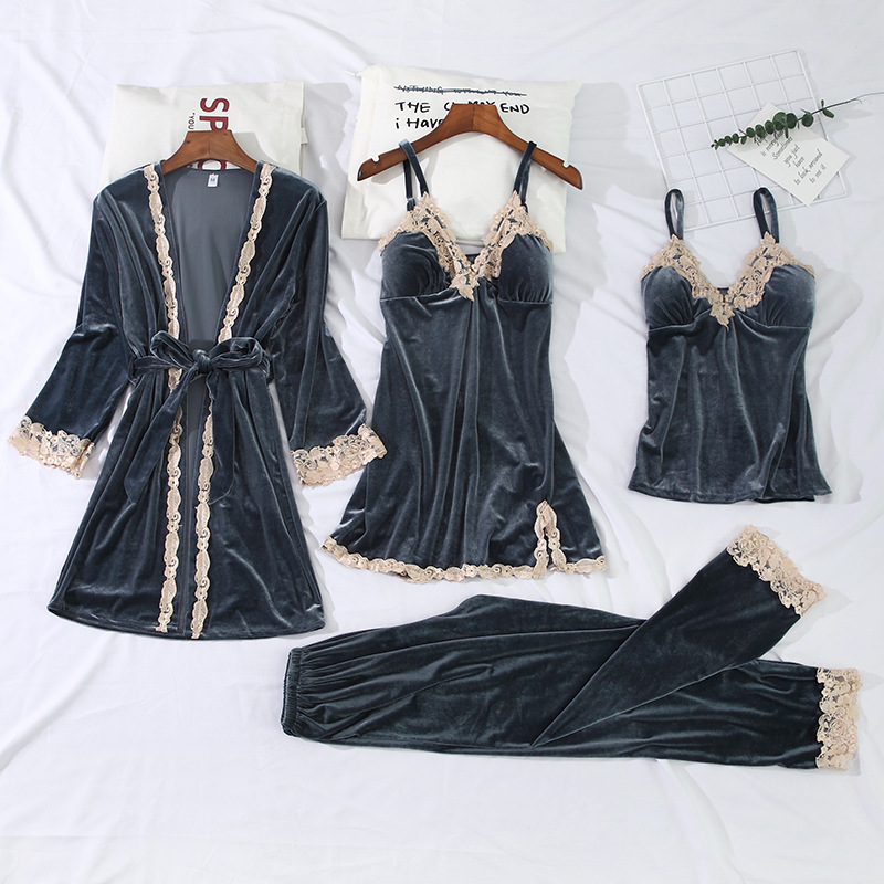 Gold Velvet Pajamas For Women 4 Pieces Winter Suit Home Clothes Woman Sexy Lace Robe Pajamas Sets Sleepwear FullSleeve Nightwear