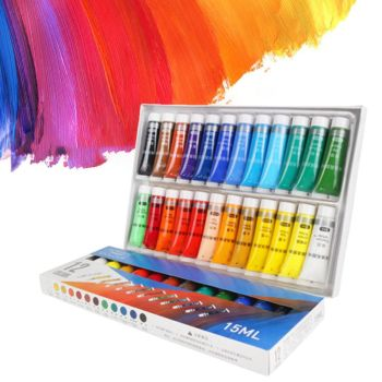 12/24 Colors Professional Acrylic Paints 15ml Tubes Drawing Painting Pigment Hand-painted Wall Paint for Artist DIY