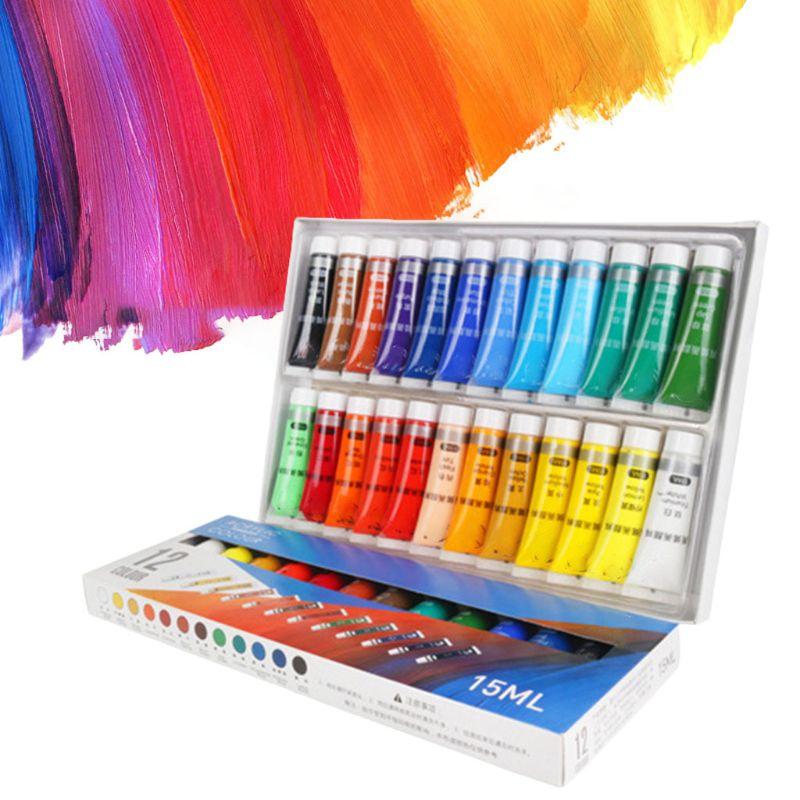 Pintura acrílica profesional de 12/24 colores 15ml tubos pintura de dibujo pigmento cuadro de pared pintado a mano para artista DIY