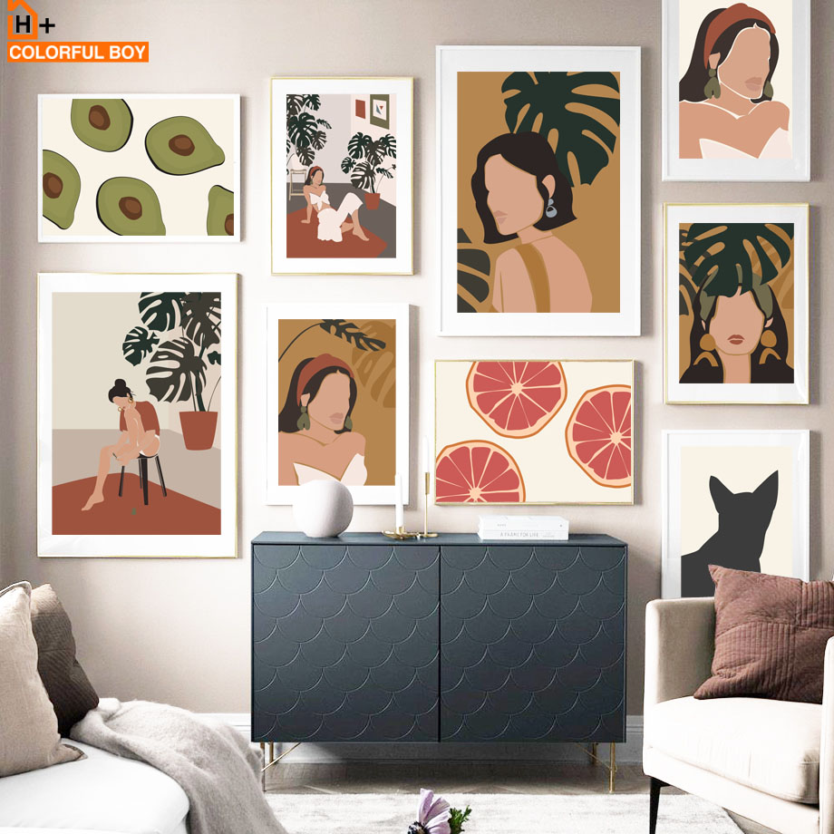Monstera Cat Girl Orange Avocado Abstract Nordic Posters And Prints Wall Art Canvas Painting Wall Pictures For Living Room Decor