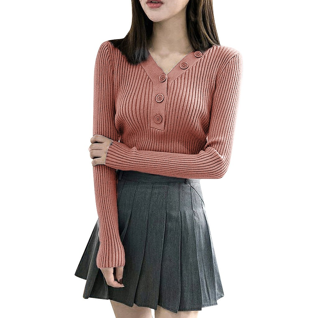 Women Knitted V-neck Full Sleeve Draw String Sweaters Pullovers Female Knitting Soft Sweater Top For Female Autumn Winter