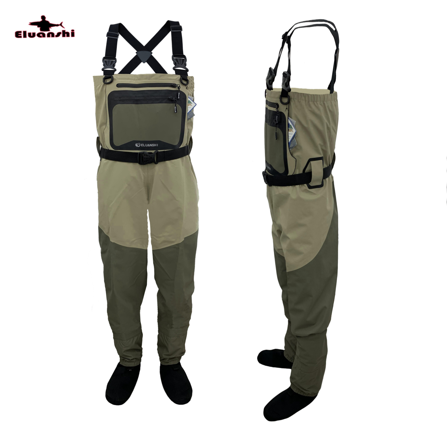 ELUANSHI Breathable Chest Fly Fishing Waders For 100% Nylon Surface Thickened Waterproof And Layer Fine Woven Mesh Wading Thick