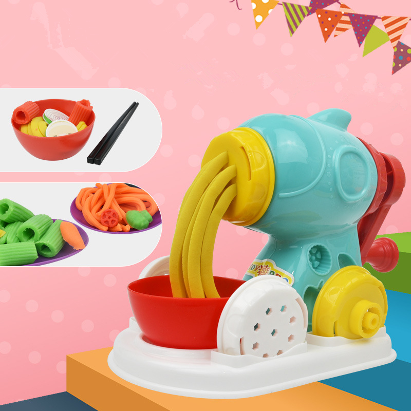 Children Color Clay 3D Playdough DIY Noodle Machine Creative Handmade Cake Barbecue Mold Kitchen Toys Set Kids Gift