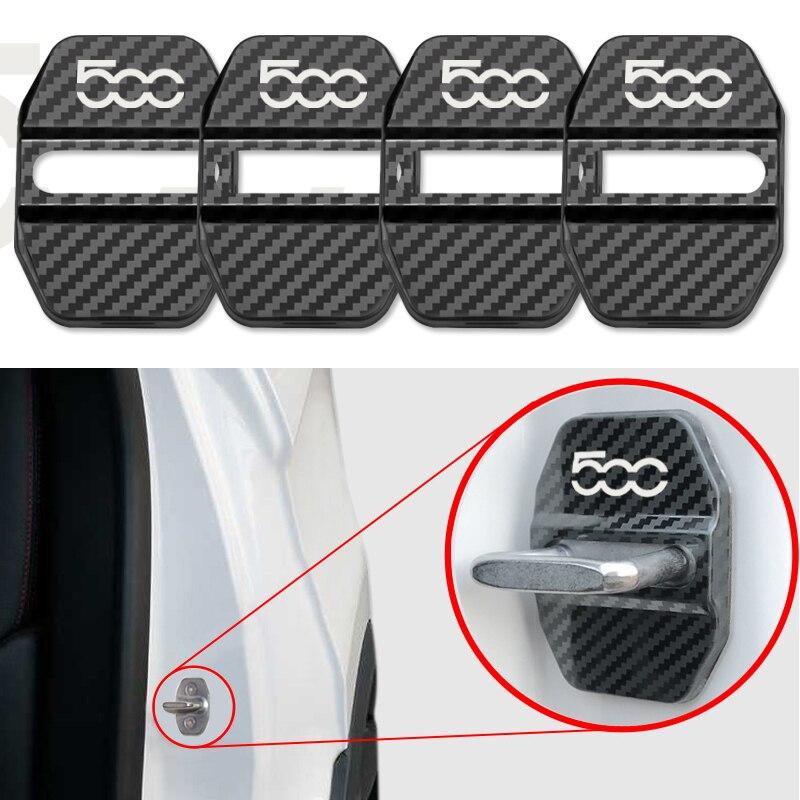Автомобильный Стайлинг из углеродного волокна отделка дверного замка эмблема крышка подходит для Fiat 500 Viaggio Ottimo Bravo автомобильные аксессуар...