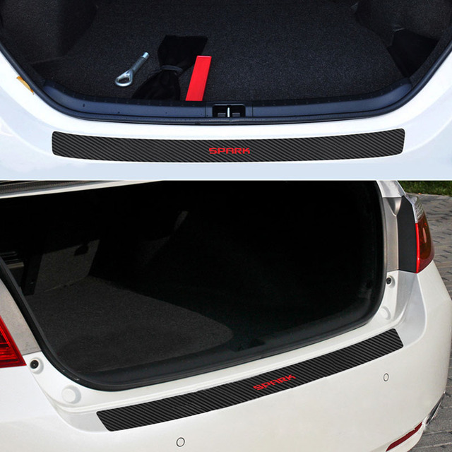 1PC Car Trunk Bumper Guard Pad Protector Sticker For Chevrolet Spark PU Leather Car Stickers Interior Accessories 3