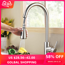 Tap Faucet Sprayer-Head Brushed Kitchen-Tap Nickel-Mixer Stream Single-Hole-Pull-Out