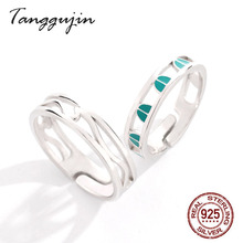 Silver 925 Ring Men 925 Sterling Silver Couple Rings For Lovers Women Adjustable Finger Green Enamel Ring Male Fashion Jewelry недорого