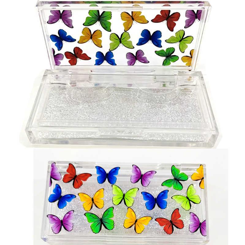 30/20 adet kelebek baskı akrilik 10mm-25mm yanlış kirpik ambalaj kutusu kirpik kutuları sahte 3D vizon Lashes vaka boş özel logo