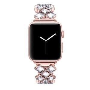 Image 2 - Correa para Apple Watch de 38/42mm, 40mm, 44mm, pulsera de diamante para mujer, apple watch Series 6 SE 5 4 3 2, correa de acero inoxidable