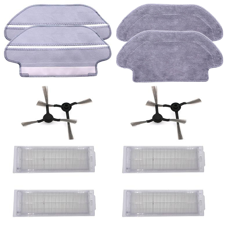12pcs/set Side Brushes Filters Mop Pads For Viomi V2 V-RVCLM21B Mijia STYJ02YM Vacuum Cleaner Home Appliance Parts