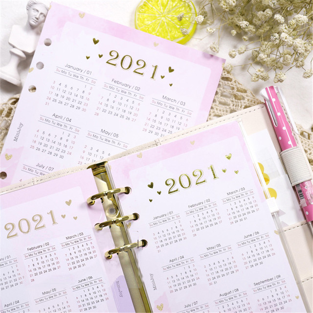 2021 Calendar Cards 6 Holes Loose-Leaf Notebook Dividers A5/A6/A7 Planner Index Paper Separator Pages Planner Accessories