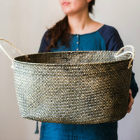54cm Large hand woven Laundry basket Bathroom storage box storage basket home Decoration crafts for Natural seagrass