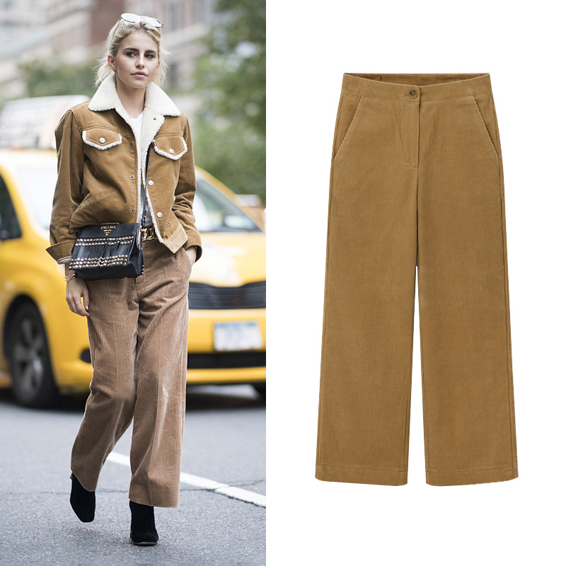 Autumn Winter Thick Warm Corduroy Wide Leg Pants Office Trousers Casual Loose Solid Women Pants Streetwear Female Trousers M-6XL