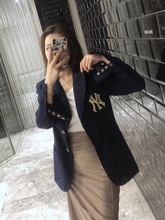 2019 The Same Dark Blue Embroidered Waist That Accentuates Skinny In Blazer Notched Clothes Women Jackets and Coats