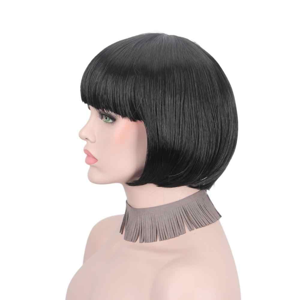 Peruka z krótkim bobem czarne włosy peruki syntetyczne dla kobiet dziewczyny studentów fala włosy z płaskim Bangs, jak prawdziwe naturalne ludzkie włosy