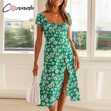 Conmoto الدانتيل يصل الكشكشة خمر فستان الشاطئ النساء الأزهار بوهو منتصف فساتين سبليت feminino فستان صيفي غير رسمي vestidos