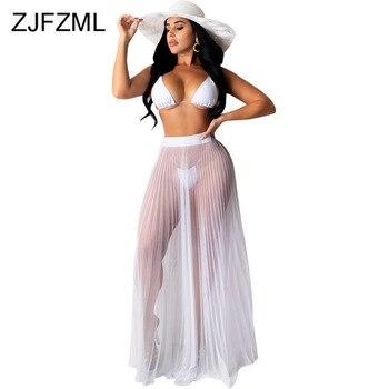 цена на Sexy 3 Piece Matching Set Summer Clothes For Women Halter Neck Bra Top+Panties Short+Sheer Mesh Pleated Maxi Skirt Beach Outfits