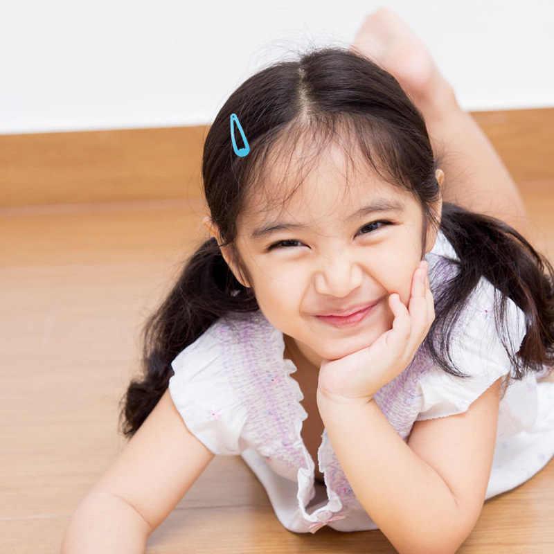 50個ミックスカラー3センチメートル女の赤ちゃんスナップヘアクリップなしスリップ金属ヘアバレッタヘアピンキッズ髪accessorie
