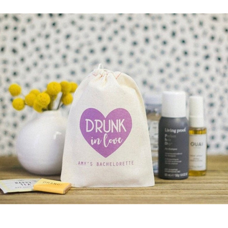 Drunk In Love Hangovers Customize Cotton Recovery Kit Bags Bachelorette Decor Bridal Shower Favor Gift Bag Bridesmaid Remedy Bag