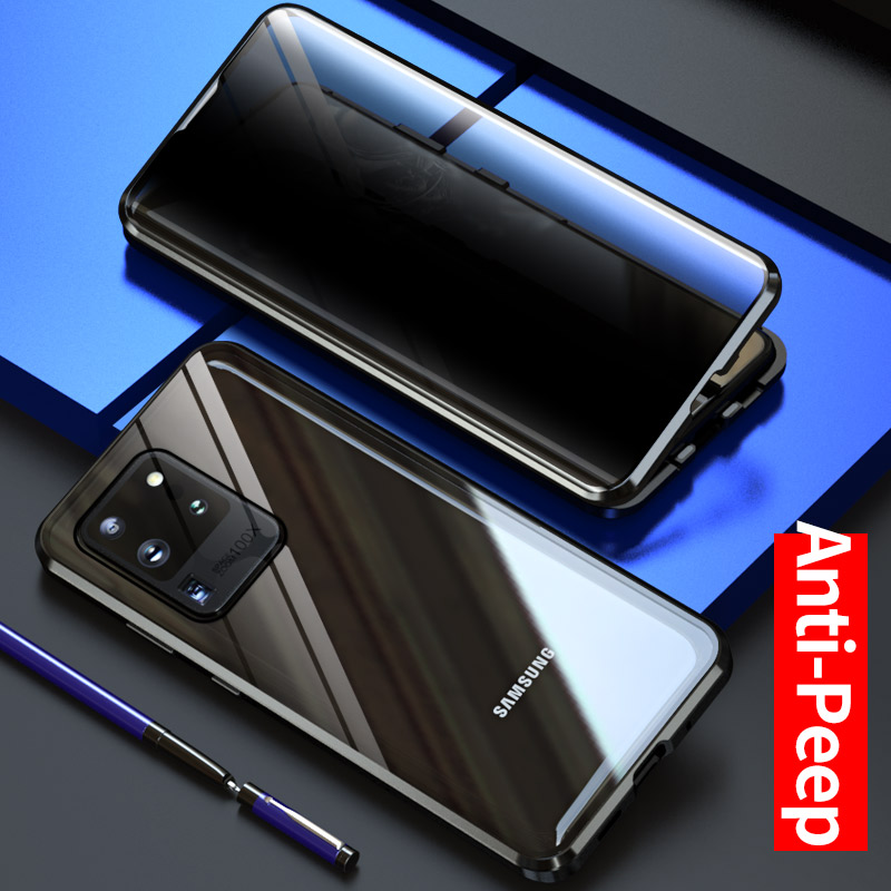 Luxury Metal Magnetic Front Back Privacy Tempered Glass Case For Samsung Galaxy S20 Plus /S20 Ultra 5G Metal Frame Back Cover