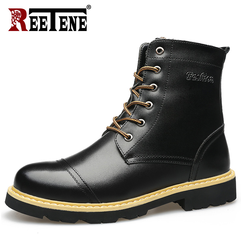 REETENE Men'S Winter Boots Leather Fashion Men Winter Boots Mid-Calf Snow Boots Men Leather Winter Boots Men Size 38-46