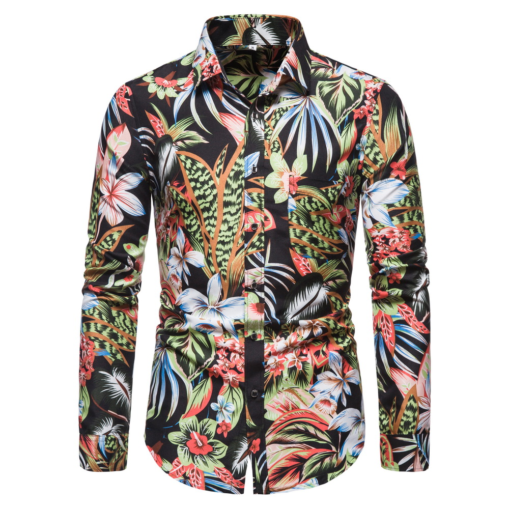 CYXZFTROFL New Arrived Mens Hawaiian Shirt Male Casual Camisa Masculina Printed Beach Shirts Long Sleeve Dress Shirt For Men Y06