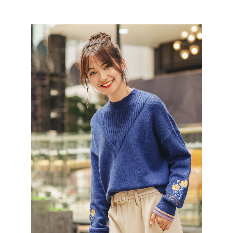 INMAN Winter Literary O-neck Drop-shoulder Sleeve Embroidery Warm Loose Women Pullover