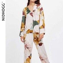 新サテン花印刷パジャマセットファッション長袖pijamas女性vネック部屋着セット2ピースホーム服パジャマ2020
