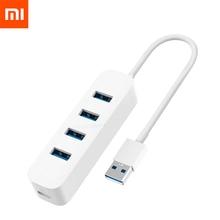 Xiaomi 4 יציאות USB3.0 רכזת עם המתנה אספקת חשמל ממשק USB רכזת Extender הארכת מחבר מתאם עבור Tablet מחשב