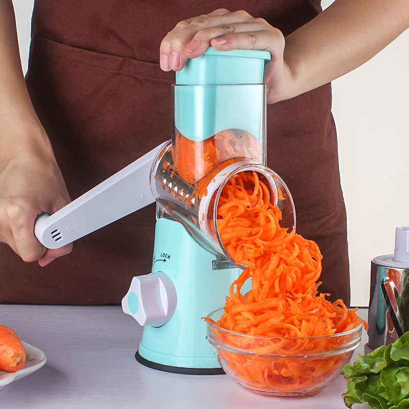 Multifungsi Manual Vegetable Cutter Mandoline Slicer Cutter Chopper dan Parutan Sayur Spiralizer Pemotong Spiral Parutan
