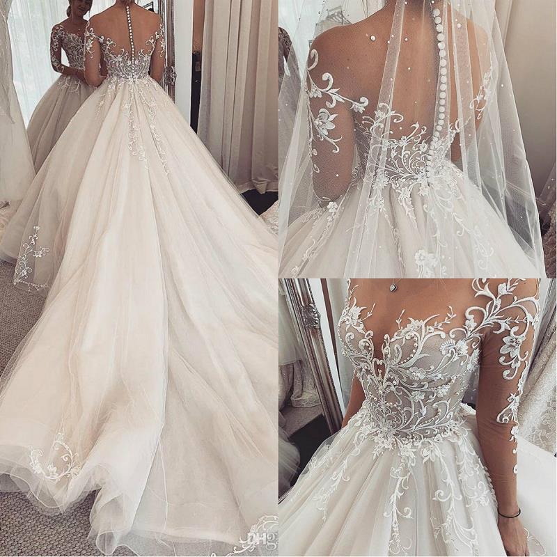 Charming Elegant Lace Wedding Gowns 2020 Robe De Mariee Sheer Long Sleeve Wedding Dress Custom Made Illusion A Line Bride Dress