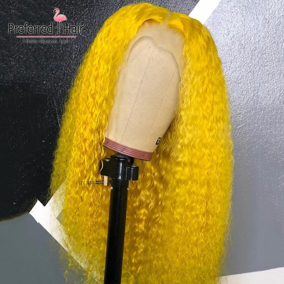 Предпочтительный бразильский Реми 13x6 Синтетические волосы на кружеве парик с детскими волосами парик из бразильских курчавых, желтый Цвет прозрачные кружевные парики для Для женщин - 2