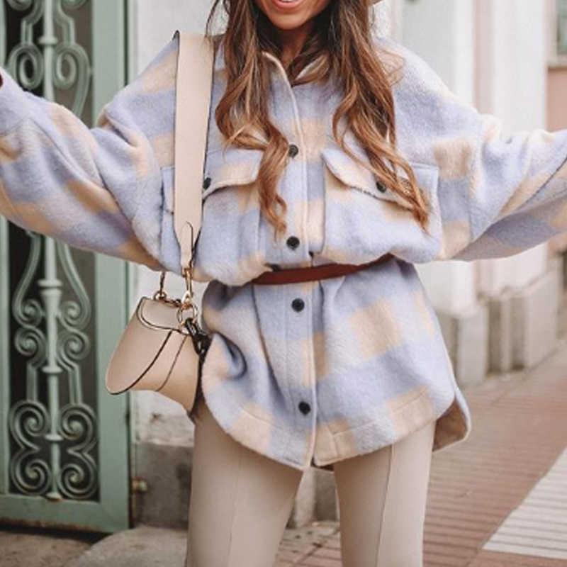 Toppies vintage krata długi płaszcz jacekt kobiety 2020 wiosenna koszula kurtka oversized plus rozmiar kurtka damska