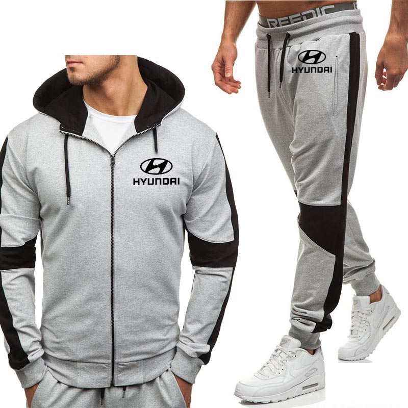 Hoodies Men Hyundai Motor Car Logo Casual Fashion Harajuku Hooded Fleece Warm Zipper Jacket Sweatshirt Sweatpants Suit 2pcs