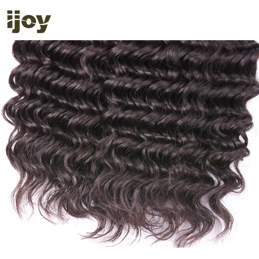 "Deep Wave Human Hair 3 Bundles With 4x4 Lace Closure Natural Color 8""-26"" M Brazilian Hair Weave Bundles Non-Remy IJOY"