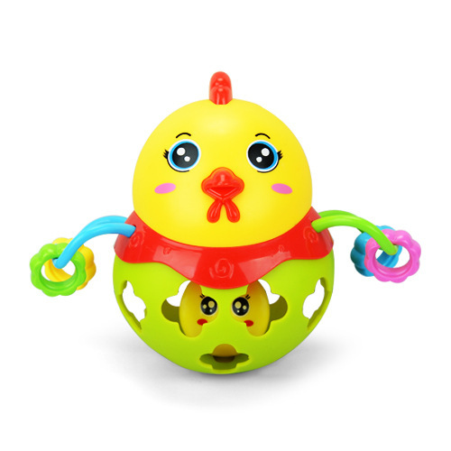 [Cloud Commercial Union] Village Baby Toys Fitness Ball Soft Silcone Rattle Buckle Hole Infants Educational Toy Single
