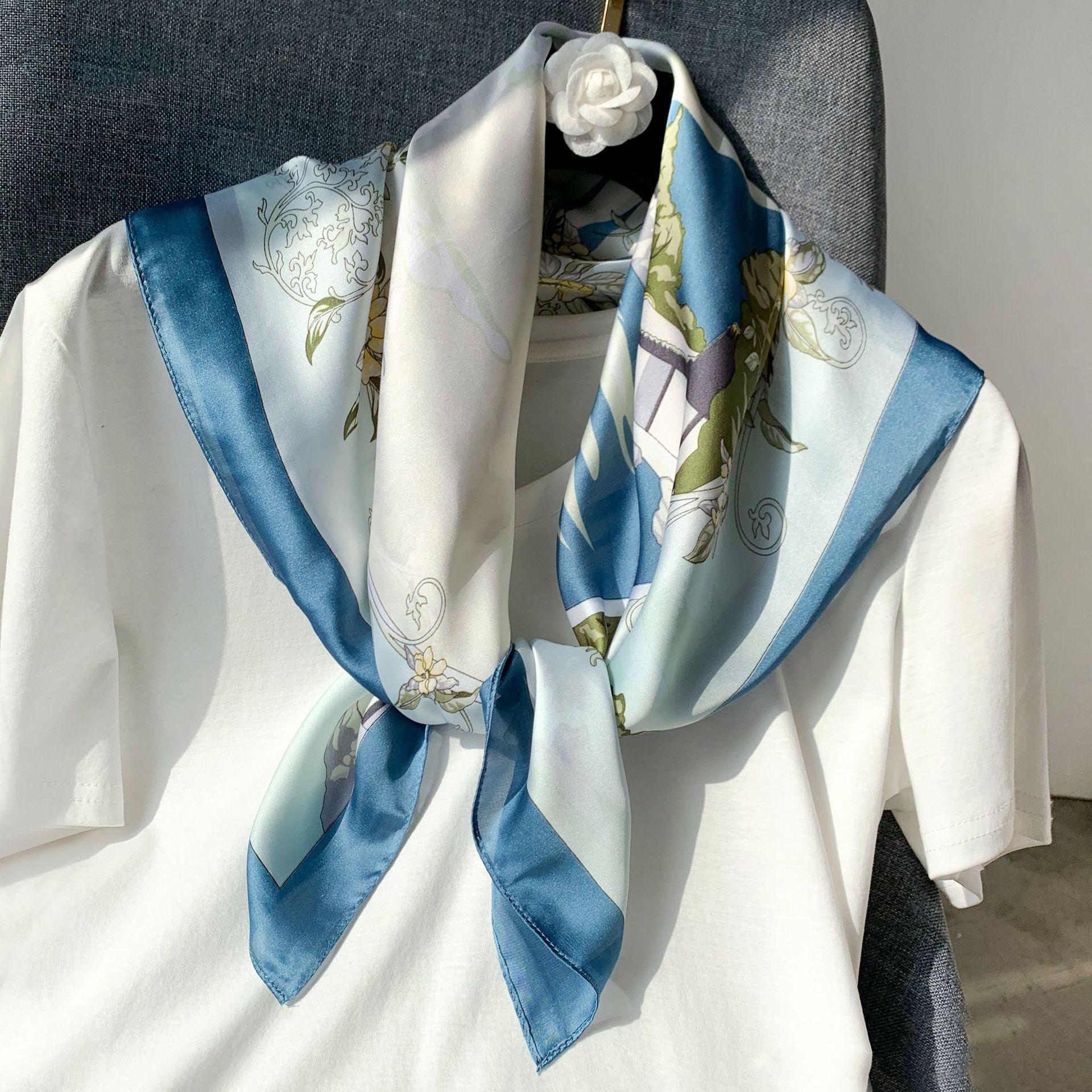 Elegant Kerchief Silk Satin Hijab Scarf For Women Bandana Head Fashion Print Bag Scarfs Female Small Shawl Neck Scarves For Lady