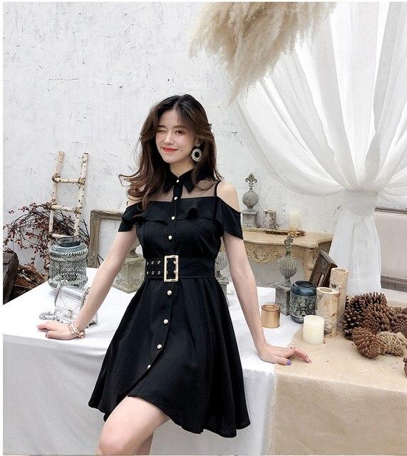 ZAWFL Elegant Women Lace Black Ruffle Mesh Splice Turn-Down Collar Dress Casual A Line Mid Length Dress 2020 Summer 3