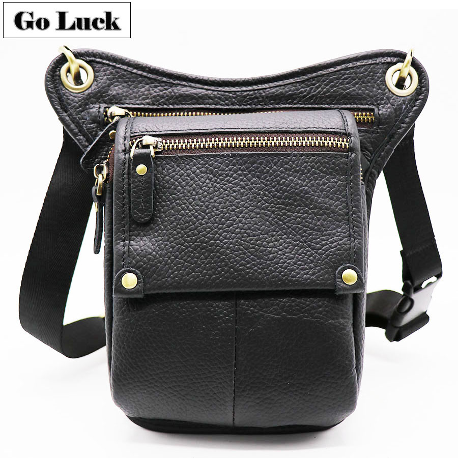 GO-LUCK Brand Genuine Leather Belt Leg Thigh Waist Fanny Pack Men's Shoulder Bag Camera Tool Kits Organize Bags Cell Phone Pouch image