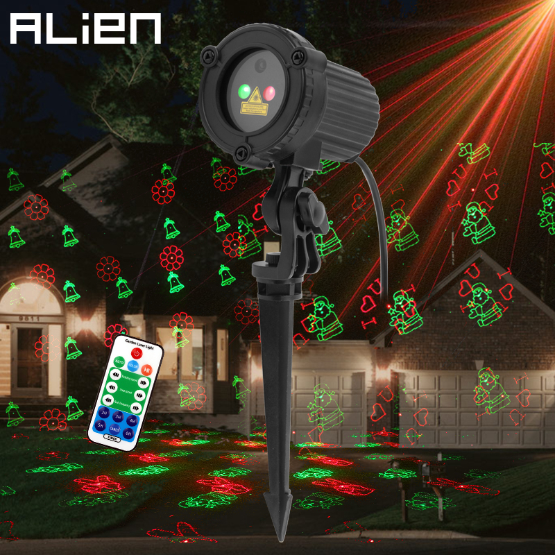 ALIEN RG 12 Pattern Red Green Christmas Lights Garden Laser Projector Outdoor Waterproof Xmas Tree Holiday Party Landscape Light