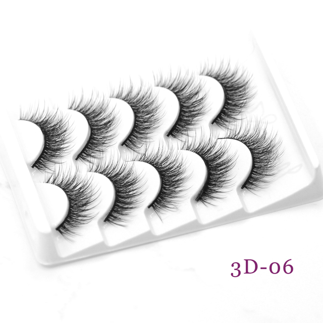 DamePapil 5 Pairs/Set Faux Mink Full Strip 16/18/20mm Lashes Hand Made Soft Natural 3d/5d/6d/8d False Eyelashes for Makeup 3