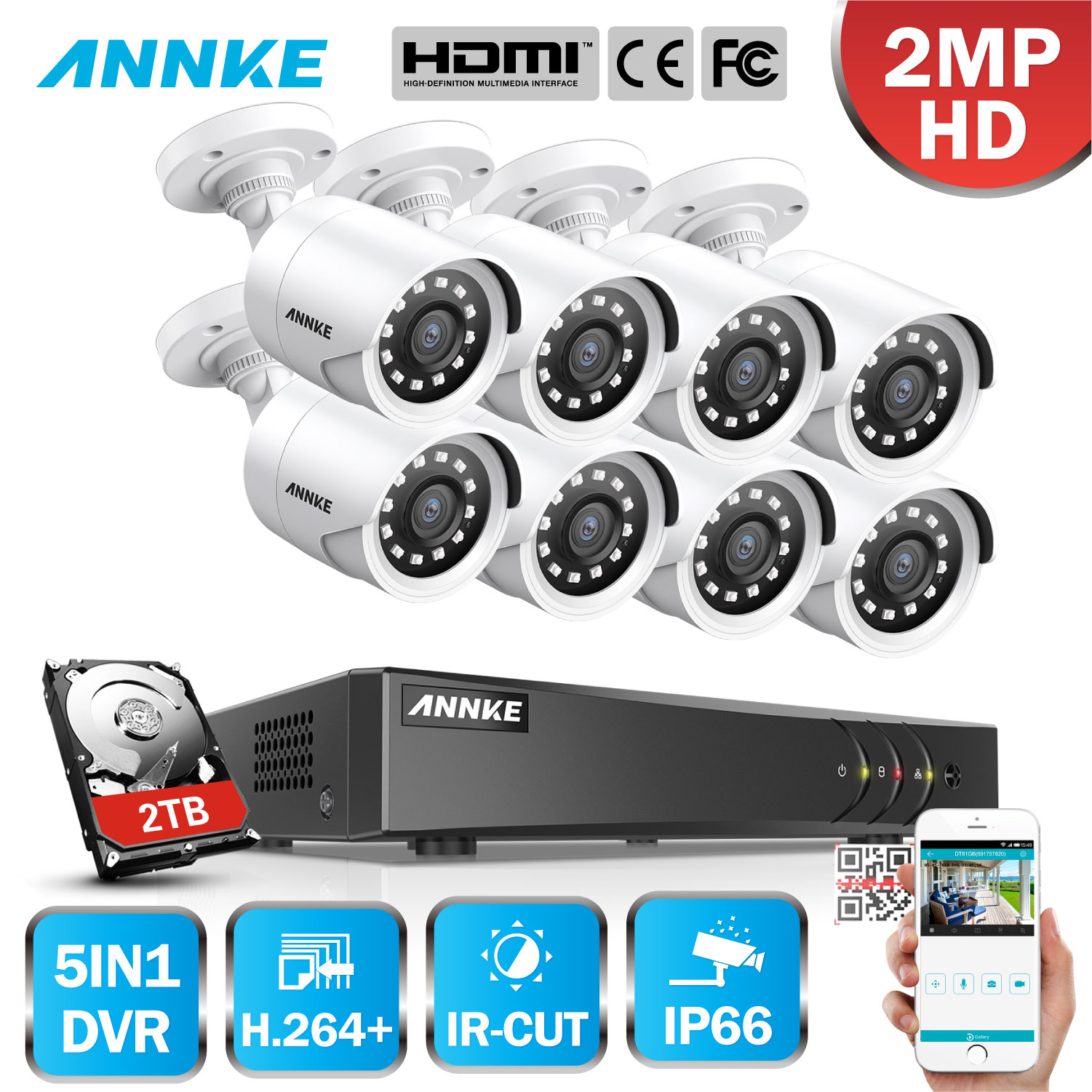 ANNKE 1080P Lite H.264+ 8CH CCTV Camera DVR System 8pcs IP66 Waterproof 2.0MP Bullet Cameras Home Video Security CCTV Kit