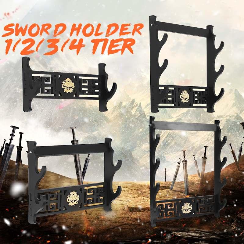 1/2/3 /4 Tiers Samurai Sword Holder Wall Mount Dragon Japanese Samurai Sword Katana Holder Stand Hanger Bracket Rack Display