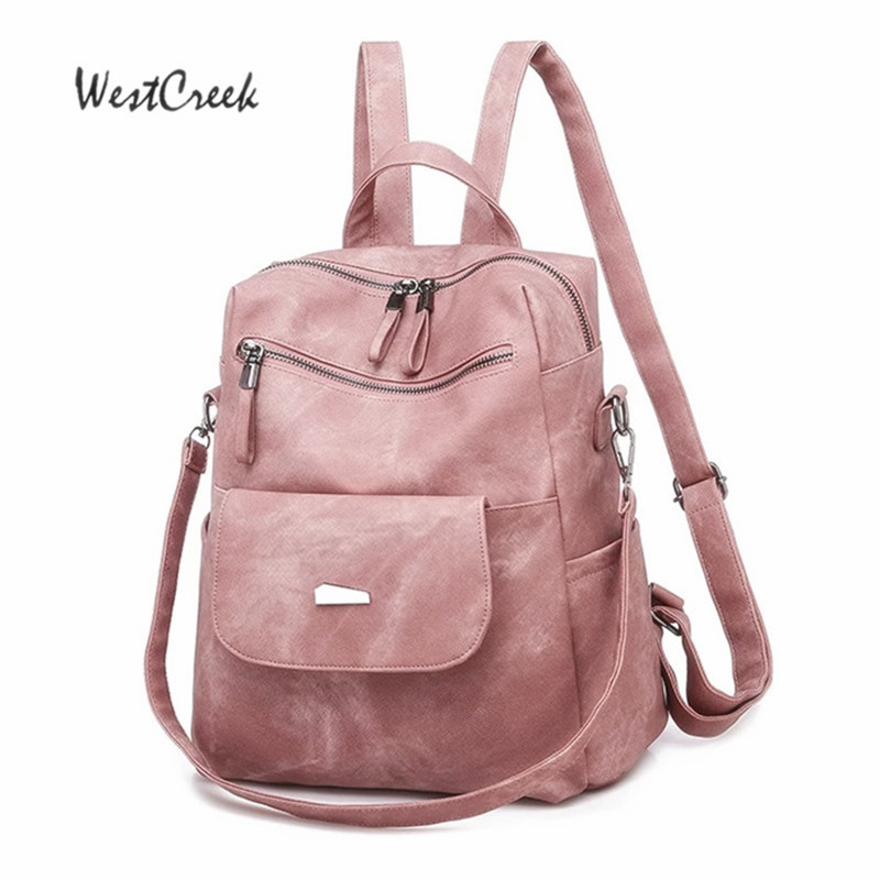 WESTCREEK Brand Vintage Pink Backpacks Women Female Bag PU Bagpack Fashion Retro Backpack Purse