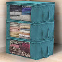 Non Woven Fabric Quilt Clothes Storage Bag With Handles Clear Folding Moisture-proof Sealed Storage Box Organizer