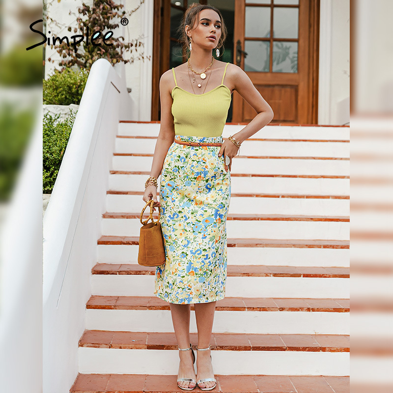 Simplee Straight Mid-length Print Skirt Leisure Holiday Style High Waist Women Skirt Fashion Colorful Floral Summer Female Skirt