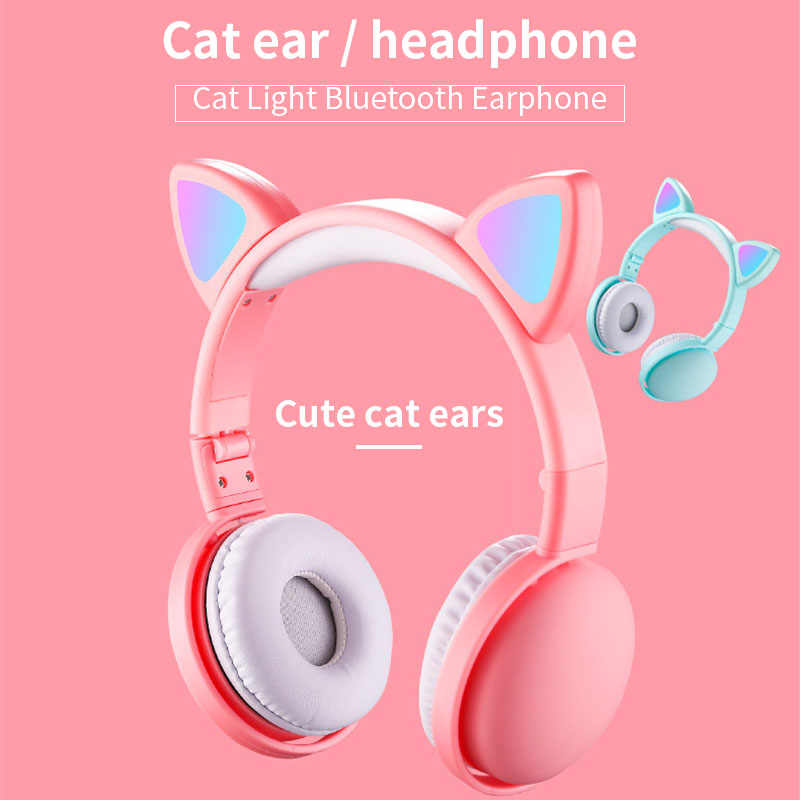 Cute Led Cat Ear Noise Cancelling Headphones Bluetooth 5 0 Foldable Gamer Music Headset With Microphones For Kids Girl Gifts Aliexpress